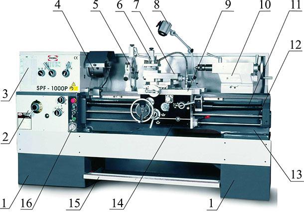 Схема токарного станка SPF-
